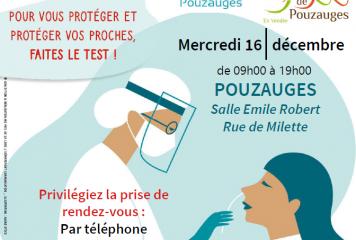 Coronavirus : dépistage gratuit à Pouzauges, mercredi 16 décembre