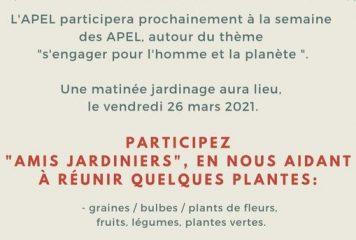 """La semaine des APEL """"s'engager pour l'homme et la planète"""""""